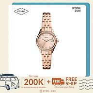 Đồng hồ nữ Fossil Scarlette Micro Three-Hand Date dây thép không gỉ ES5038 - màu rose gold thumbnail