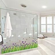 Decal dán tường trang trí phòng khách, quán cafe- Chân hoa tím- DSK7005 thumbnail