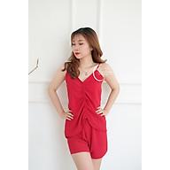 Dreamy-DN15-70-Đồ bộ ngắn 2 dây áo rút chất liệu đũi mềm mại, co giãn nhẹ , thoáng mát màu đỏ đô thumbnail