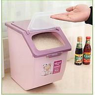 thùng đựng gạo 15kg - màu hồng tím thumbnail