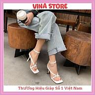 Giày Sandal Cao Gót Nữ 5P Đế Nhọn Quai Kẹp Ngón có 3 màu trắng đen nude chất da mềm cao cấp - mã VNST005 thumbnail