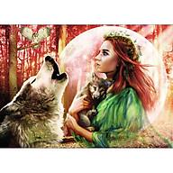 Tranh sơn dầu số hóa tự tô đã căn khung 40x50cm- RSB8344 lời ru của sói thumbnail