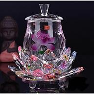 Bộ ly cúng nước đế sen fa lê cánh sen hồng ngũ sắc BH60 thumbnail
