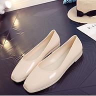 Giày búp bê mũi vuông màu đen, kem, đỏ, giày nhựa đi mưa, giày bệt đế bằng V188 thumbnail