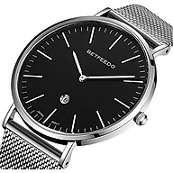 Betfeedo Men s Wrist Watches Ultra-Thin Quartz Analog Watch with Stainless Steel Mesh Band thumbnail