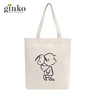 Túi Tote Vải Mộc GINKO Dây Kéo In Hình Snoopy And Charlie M18 thumbnail