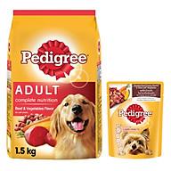 Combo thức ăn cho chó Pedigree 1,5kg vị thịt bò và rau củ + sốt chó lớn Pedigree 80g vị bò nướng và rau thumbnail