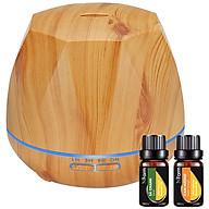 Máy khuếch tán tinh dầu hình kim cương gỗ vàng NF2032, tinh dầu sả chanh, tinh dầu cam N Farm (10ml x2) thumbnail
