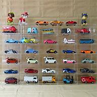 Kệ để xe mô hình treo tường 6 tầng 30 ô mỗi ô kích thước 10x5x5cm bằng mica trong suốt kích thước tổng là 52x32x5cm - KỆ KHÔNG BAO GỒM CÁC XE thumbnail