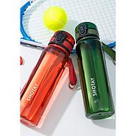 Bình Nước Thể Thao Nhựa Cao Cấp Có Nắp Bật và dây cầm Bình Tập Gym Yoga dung tích 640ml giao màu ngẫu nhiên thumbnail