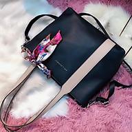 Túi xách nữ, tu i xa ch công sở,tu i xa ch gia re pha màu đựng vừa giấy A4 màu đen và màu kem thumbnail