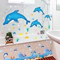 Combo 2 decal dán tường cá heo xanh và chân tường cá voi cho bé + Tặng stick bất kì thumbnail