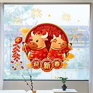 Decal trang trí nhà cửa, tết- Trâu vàng cầm pháo- NQR209170 thumbnail