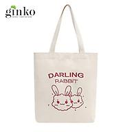Túi Tote Vải Mộc GINKO Dây Kéo In Hình Darling Rabbit M17 thumbnail