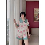 Đồ Bộ Pijama Nữ Satin Thái - Tay Ngắn Quần ĐÙI Form Tay Lở Dưới 60kg Mặc Đẹp AK03 thumbnail