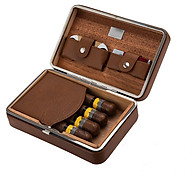 Hộp Đựng Bảo Quản Giữ Ẩm Xì Gà 4 Điếu XJ-T111 Kèm Bật Lửa Và Dao Cắt (hộp đựng màu nâu - bật lửa, cắt mẫu ngẫu nhiên) thumbnail