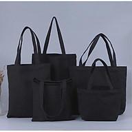 Túi vải bố, Túi vải Canvas trơn màu Đen không khóa kéo thumbnail