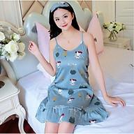 Đầm 2 dây mặc nhà,đồ ngủ họa tiết Haint Boutique Vn15 - Xanh cây dừa - XL thumbnail