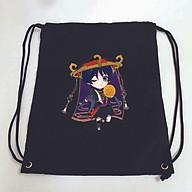 Balo dây rút đen in hình GENSHIN IMPCT M2 game anime chibi túi rút đi học xinh xắn thời trang thumbnail