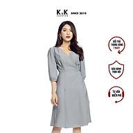 Đầm Công Sở Wrap Dress Tay Lỡ K&K Fashion KK106-13 Cổ Tim Màu Xanh thumbnail