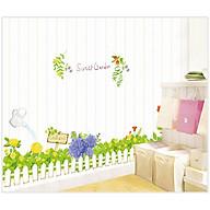 Decal dán tường hàng rào hoa màu xanh lá cây cho bé AY7222 thumbnail