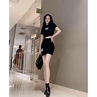 Set váy croptop body hack dáng, áo croptop kèm chân váy ngắn thêu hình ấn tượng thumbnail