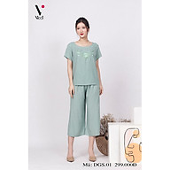 Đồ bộ bigsize - Đồ bộ trung niên - Bộ đồ trung niên mặc nhà bigsize Vicci DGS.01 thiết kế áo cộc quần sớ chất liệu đũi cao cấp (dành cho người béo) thumbnail