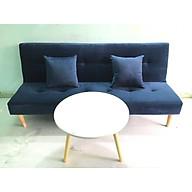 Ghế sofa bed xanh dương đậm nhung và bàn tròn XDDN 1m7x90 thumbnail