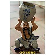 Tượng la hán bê chậu cây h35 gốm sứ Bát Tràng thumbnail
