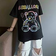 Áo thun unisex nam nữ chú gấu và bóng bay AIRBALLOON, in hình sắc sảo ,form rộng thumbnail