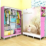 Tủ quần áo, tủ vải đựng quần áo 3 buồng 8 ngăn in hình 3D, ( họa tiết ngẫu nhiên ) thumbnail