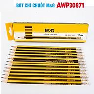 Hộp Bút chì chuốt M&G AWP30871 ngòi HB sọc đen vàng-12 cây thumbnail