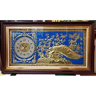 Đồng hồ-Tranh đồng vàng liền tấm -Đôi uyên ương ( đôi chim công) thumbnail