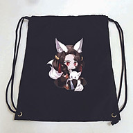 Balo dây rút đen in hình KIMETSU NO YAIBA anime chibi ver TAI THÚ túi rút đi học xinh xắn thời trang thumbnail