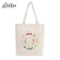 Túi Tote Vải Mộc GINKO Dây Kéo In Hình LOVE IS LOVE M43 thumbnail