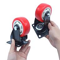 Bánh xe đẩy mặt đế xoay càng sắt tải trọng 50kg lốp nhựa PU cam trắng rộng 30mm 75mm thumbnail