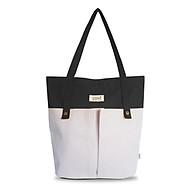 Túi vải canvas, túi tote đựng giấy A4 phom đứng phối 2 nút trước thời trang COVI nhiều màu sắc T8_màu đen thumbnail
