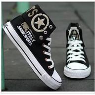 Giày thể thao sneaker cao cổ nam cổ bẻ, hàng nhập Quảng Châu (Đen) thumbnail
