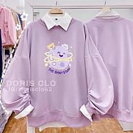 Áo nỉ sweater in hình thỏ dài tay màu tím cực hot thumbnail