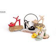 Giày Sandal nữ cao gót, chiều cao gót 11cm, đế đúp( cao trên), mũi tròn, gót nhọn đồng màu sang trọng, da Microfiber nhập khẩu cao cấp, thiết kế thời trang, trẻ trung, cá tính TH8509 thumbnail