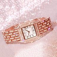 Đồng hồ thời trang nữ Dmvt1 dây kim loại mặt vuông đính đá sang trọng thumbnail