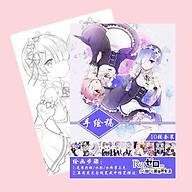 Tranh tô màu Re Zero Bắt đầu lại ở thế giới khác tập bản thảo phác họa anime manga chibi tặng thẻ Vcone thumbnail