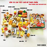Bộ đồ chơi nấu ăn cho bé, mô hình đồ ăn, thức ăn, đồ chơi đồ hàng, set 93 chi tiết bằng nhựa thumbnail