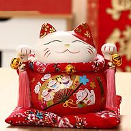 Mèo thần tài đỏ Quạt Kim Vận Chiêu Tài - 21cm thumbnail