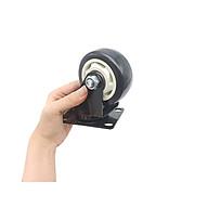 Bánh xe đẩy mặt đế xoay càng sắt tải trọng 50kg lốp nhựa PU đen rộng 32mm 75mm thumbnail