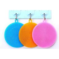 Combo 3 Miếng rửa chén dĩa silicon đa năng- Tặng móc khăn thumbnail