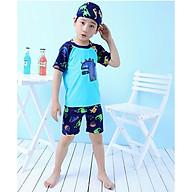 Bộ Đồ Bơi Khủng Long Xanh Dành Cho Bé Trai CaoTừ 85cm - 125cm chất vải Polyeste thân thiện với trẻ em, mau khô, thấm hút mồ hôi tốt, thiết kế thời trang bắt mắt - Tặng kèm nón bơi vải cùng màu thumbnail