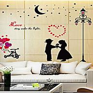 Decal dán tường hai bé tỏ tình và cột đèn đen sk9113 thumbnail