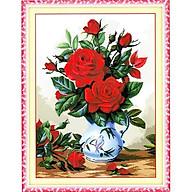 Tranh thêu chữ thập thêu kín Bình Hoa Hồng Đỏ (56 73cm) chưa thêu thumbnail