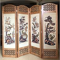 bình phong khung gỗ mẫu mới nền mành 180x200 AT007 thumbnail